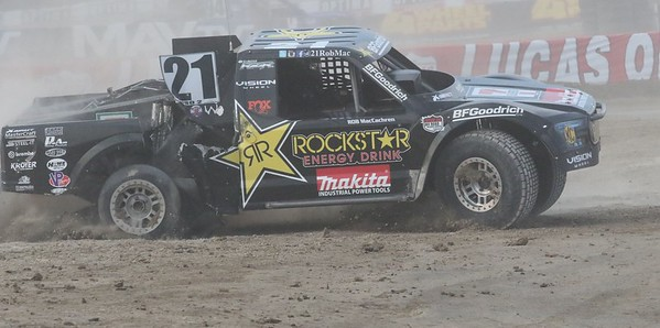Pro -2. # 21 Rob MacCachren Driving with Flat Tire.