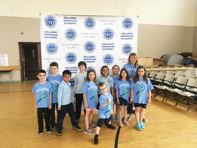 Lucas with HAA second-graders and teacher Pam Murphy Of Dracut