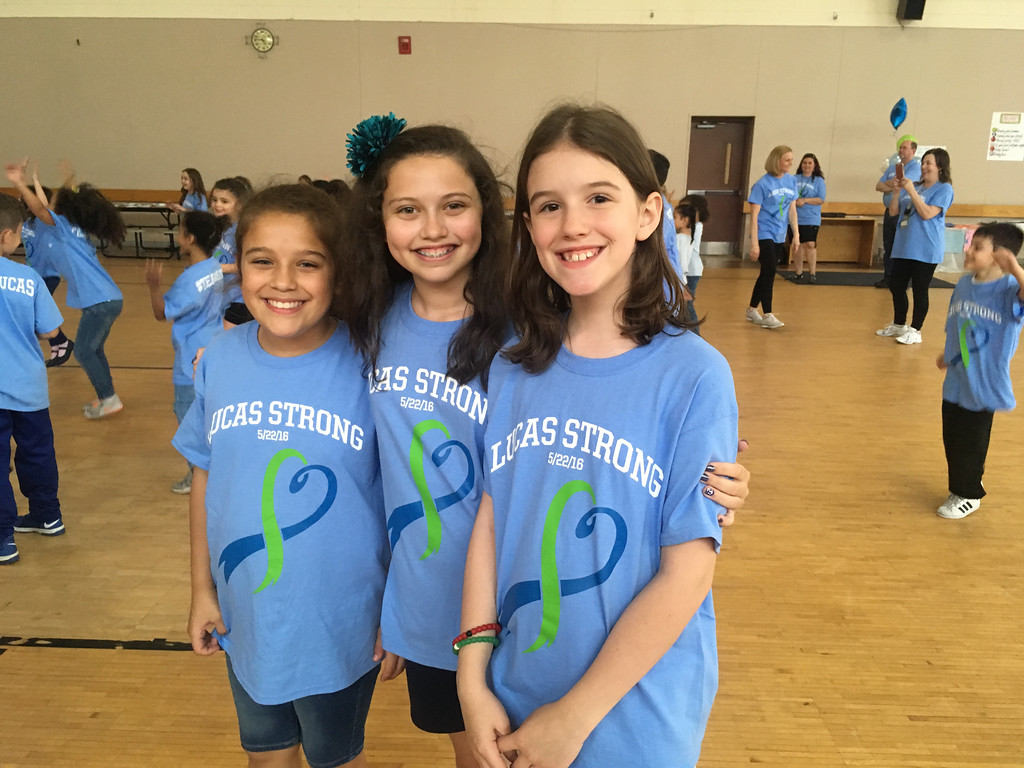 . Lucas� classmates, from left, Giah Saldarriaga of Dracut, Ava Regan of Ashby and Zoe Jackson of Lowell