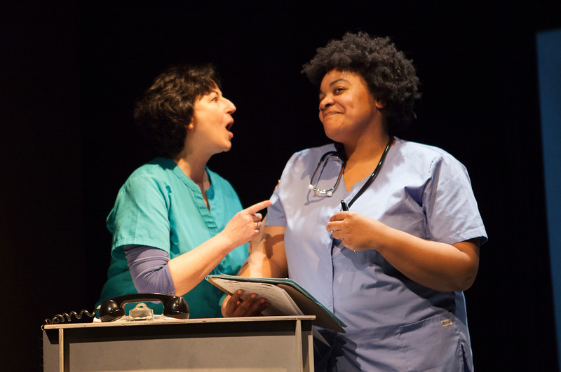 "L-R  Jeri Lynn Cohen, Indiia Wilmott  ""Joking around in the ER.""    Word for Word's Lucia Berlin: Stories; photo credit, Julie Schuchard"