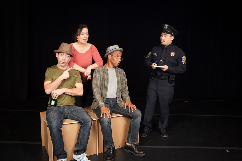 Officer Wong hears the excuses of the street Credit:  L-R  Gendell Hernandez, Jeri Lynn Cohen, Norman Gee,  Phil Wong.  Photo credit: Julie Schuchard