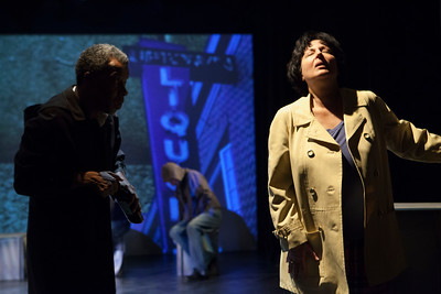 "L-R  Norman Gee, Jeri Lynn Cohen. ""The dark night of the soul.""  Video Art:  Naomie Kremer. Word for Word's Lucia Berlin: Stories; photo credit, Julie Schuchard"