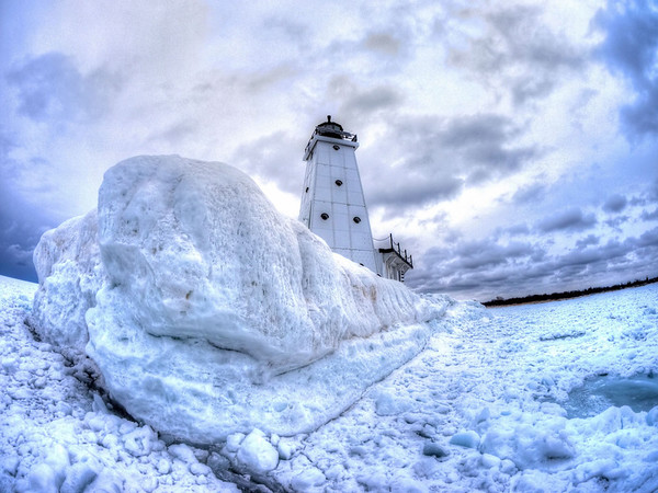 Ludington Breakwater in winter
