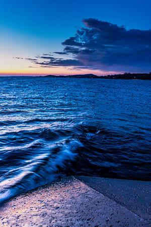 Lake Michigan Laps at the Ludington Pier
