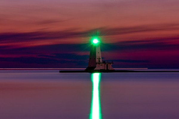 Ludington Lighthouse After Sunset--Long Exposure