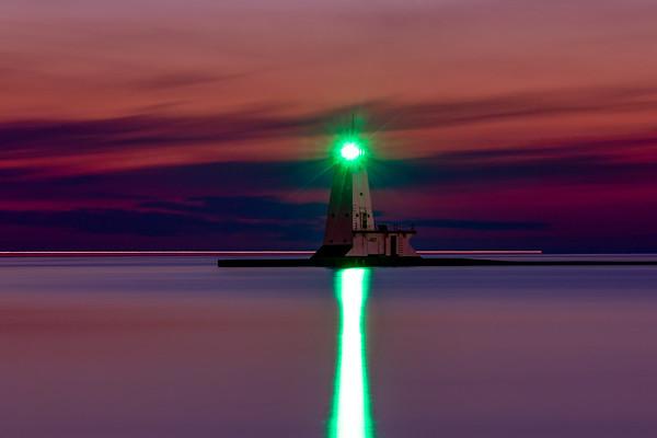 Ludington Lighthouse After Sunset--Long Exposure