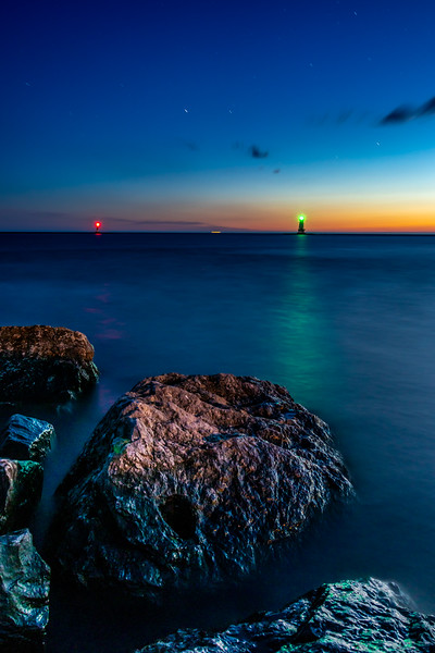 Ludington Lights in the Sun's Afterglow