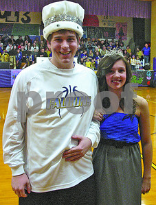 John Cavanagh • Oceana's Herald-JournalPentwater Homecoming RoyaltyKyle Emery and Sierra Petersen were crowned Pentwater High School Homecoming King and Queen Friday evening, Jan. 27, prior to the start of the Falcons boys basketball game against the Manistee Catholic Central Sabors. The Sabors were to much for the Falcons defeating Pentwater 59-50.