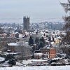 St. Laurences church and the town centre of Ludlow viewed from Whitcliffe Common.