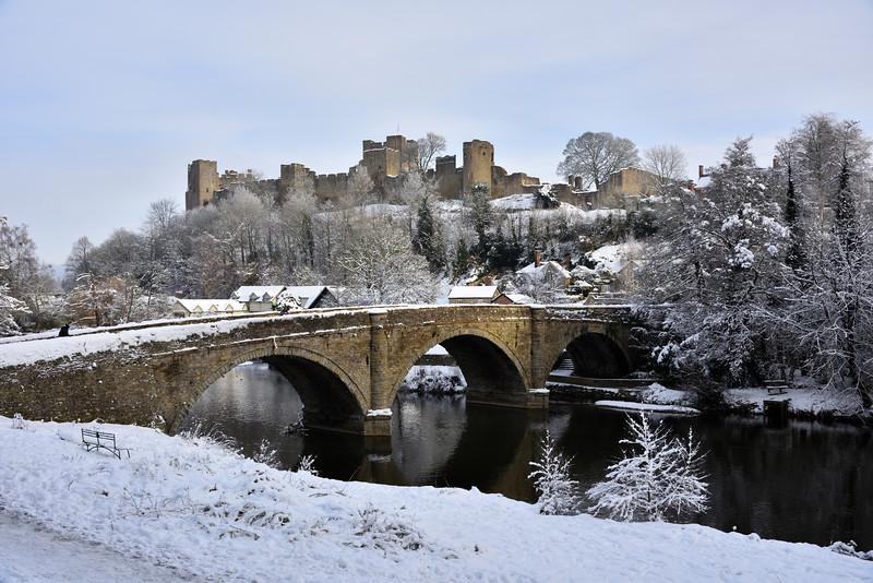Dinham Bridge, Ludlow Castle and river Teme.