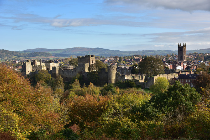 Ludlow castle and St Laurences church viewed from Whitcliffe Common.