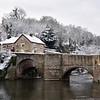 Ludford Bridge, the river Teme and Charlton Arms, Ludlow.