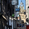 A view towards ye Olde Bulls Ring Tavern and The Buttercross, Ludlow.