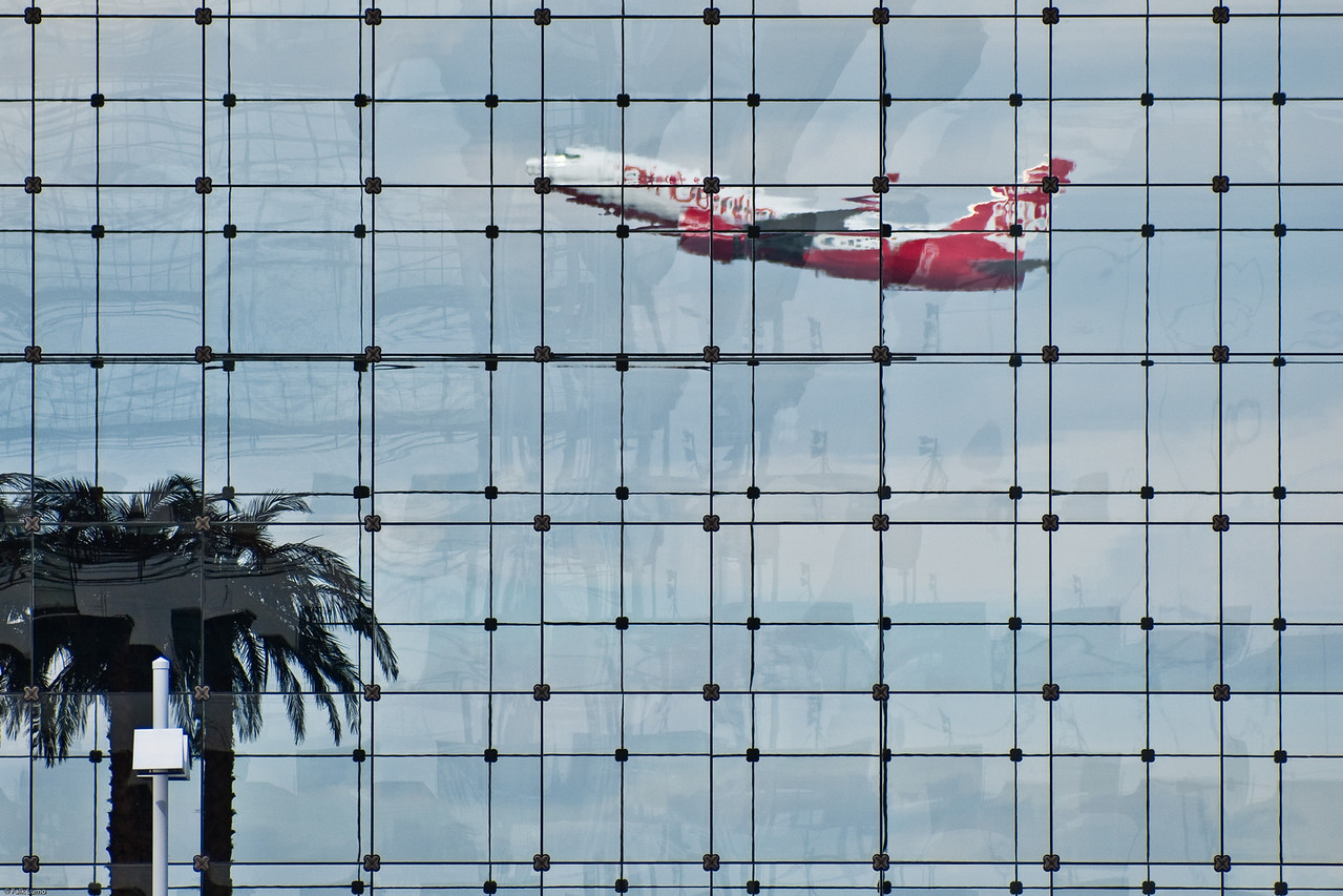 """""""Munich Dream"""" © Falk Lumo 2010 -- Airplane taking off. Seen through Hotel Kempinski building's glass facade at Munich airport. The palms are inside the hotel lobby :)"""