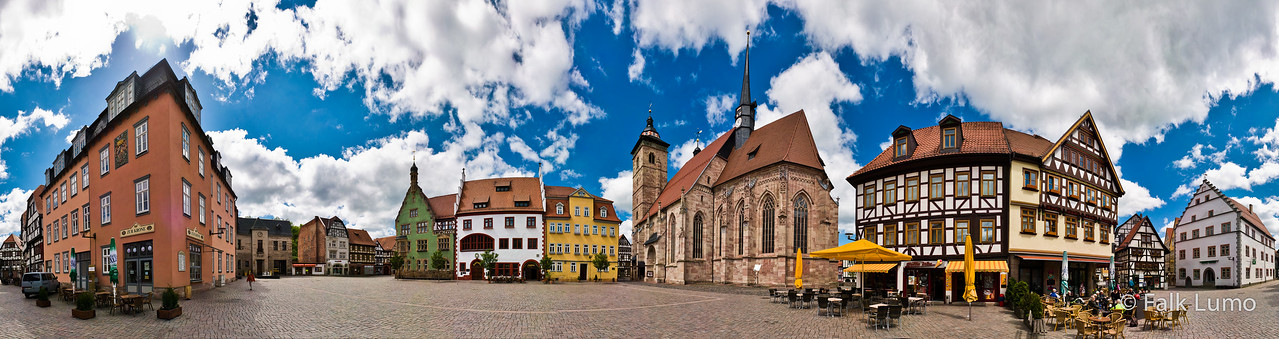 """""""Altmarkt of Schmalkalden, Thuringia, Germany"""" (panorama)  © 2012 Falk Lumo  In the middle of the image, you find St. George Church (1509). 100"""" print. All rights reserved."""