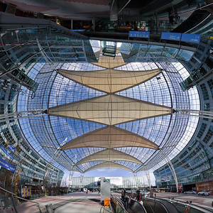 """Solar Air Sails"" © Falk Lumo 2010 -- Munich Airport Transfer Area panorama, 1x1m print (240dpi). Mercator projection."