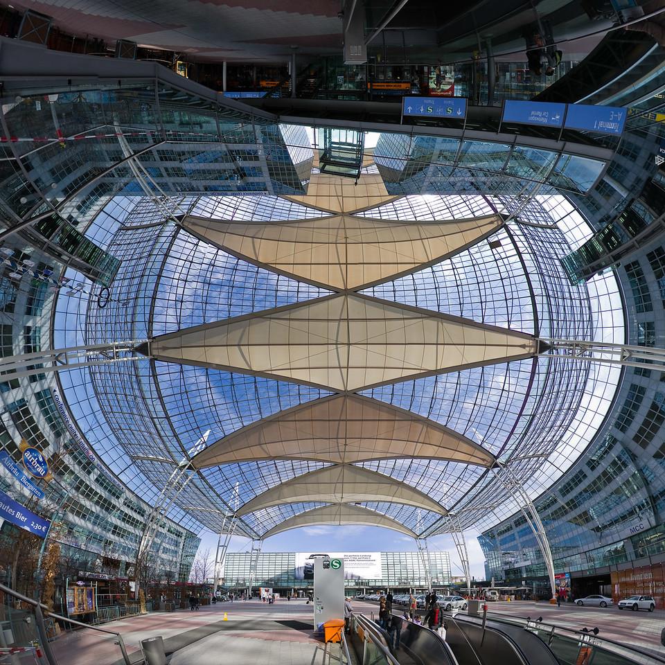 """Solar Air Sails"" © Falk Lumo 2010 -- Munich Airport Transfer Area panorama, 1x1m print (240dpi). Mercator projection."