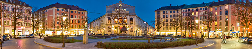 """Theater at dusk"" (cinemascope) © 2009 Falk Lumo  Staatstheater am Gärtnerplatz in Munich, Germany at dusk. Processed from 19 images."