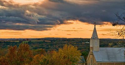 Autumn Sunset - St. Mary's Church in Villa Ridge, MO October 24, 2008