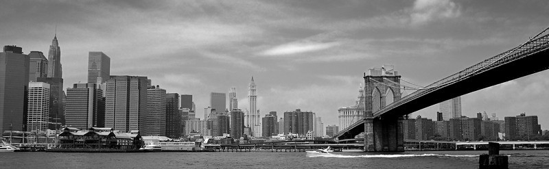 NYC skyline at the Brooklyn Bridge  Recovered this B&W from a dreadful color image.