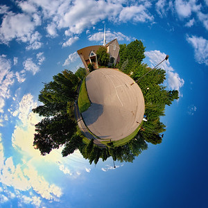 Presbyterian Planet September 4, 2009  This is Providence Reformed Presbyterian Church in St. Louis County.  This was made from a panorama of 4 stitched fisheye shots that was then distorted in Photoshop.