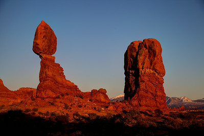 Sunset over balanced rock (Arches National Park)