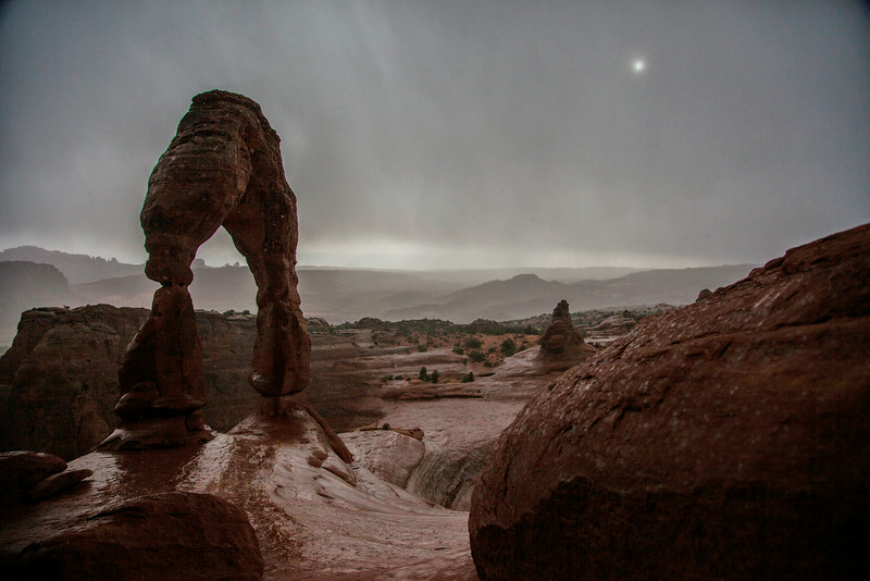 Delicate Arch under the rain, Arches National Park, Utah