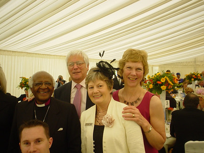 And With Sheila  Desmond Tutu, Sheila and Robert Montgomery and Sue Ilett.  I little bit of Photoshopping and my head can be removed from this picture :-)
