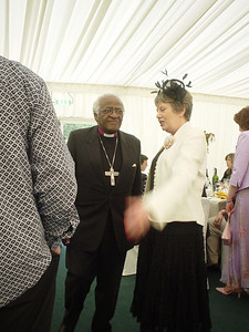 Sue and Desmond Tutu  Sue Ilett, one of Claire's colleagues has a quick word with Desmond Tutu.