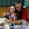 Samoset Middle School in Leominster held lunch with veterans on Thursday, November 9, 2017. Sixth grader Leah Levensailor, 12, and her father Army retired Sgt. First Class with the 10th Special Forces Group Green Beret Scott Levensailor take a picture together at the lunch. SENTINEL & ENTERPRISE/JOHN LOVE
