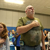 Samoset Middle School in Leominster held lunch with veterans on Thursday, November 9, 2017. Singing national anthem at the lunch is Kayla Aubin and her grandfather Air Force veteran Sgt. Robert McEwan. SENTINEL & ENTERPRISE/JOHN LOVE