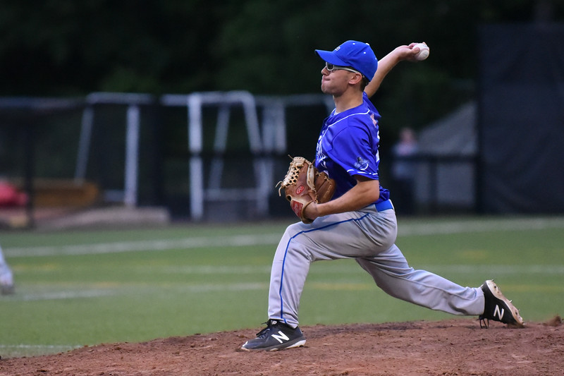 Lunenburg pitcher Drew Thibeault opens the division 4 central semi-final match up against Littleton on Wednesday at Clark University in Worcester.  SENTINEL & ENTERPRISE JEFF PORTER