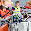 """Steven MacMillan, 3, captains the """"Star Kids"""" boat during the annual Lunenburg cardboard boat race on Saturday afternoon. SENTINEL & ENTERPRISE / Ashley Green"""
