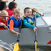 Kids compete in the annual Lunenburg cardboard boat race on Saturday afternoon. SENTINEL & ENTERPRISE / Ashley Green