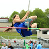 Lunenburg's Gabriella Maia competes in the pole vault during the girls' track class meets at Lunenburg High School on Saturday, May 13, 2017. Oakmont edged the hosts to win the Class B crown. SENTINEL & ENTERPRISE / SCOTT LAPRADE