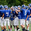 The Lunenburg High School football team runs drills at practice on Wednesday afternoon. The Blue Knights open their season against Oakmont at Doyle Field at 7 p.m. on Friday evening. SENTINEL & ENTERPRISE / Ashley Green