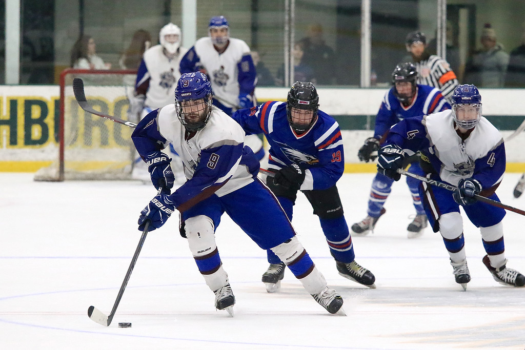 . Hopedale Junior Senior High School played Lunenburg Middle High School/Ayer Shirley Regional High School on Wednesday, February 27, 2019 at Fitchburg State University\'s Wallace Civic Center in Fitchburg. Lunenburg\'s Connor Viviano takes off down ice with the puck. SENTINEL & ENTERPRISE/JOHN LOVE