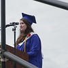 Abigail Dwyer, class valedictorian, addresses her classmates, parents and faculty and staff during the Middle-High School commencement  on Saturday morning.  (SENTINEL & ENTERPRISE / AMANDA BURKE)