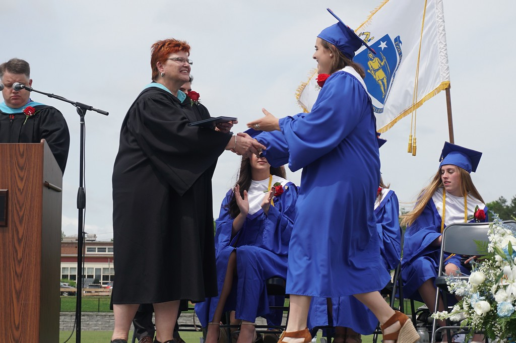. Cassandra DiGeronimo received her diploma from Superintendent Loxi Jo Calmes. (SENTINEL & ENTERPRISE / AMANDA BURKE)
