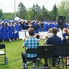 Music swells as the Lunenburg High School class of 2018 stands for the Pledge of Allegiance during commencement on Saturday. (SENTINEL & ENTERPRISE / AMANDA BURKE)