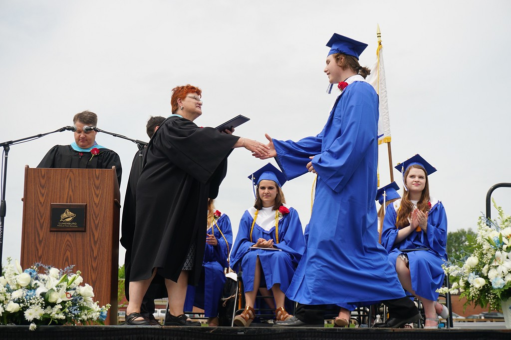 . Hundreds gathered to watch 94 students graduate from Lunenburg High School on Saturday. (SENTINEL & ENTERPRISE / AMANDA BURKE)