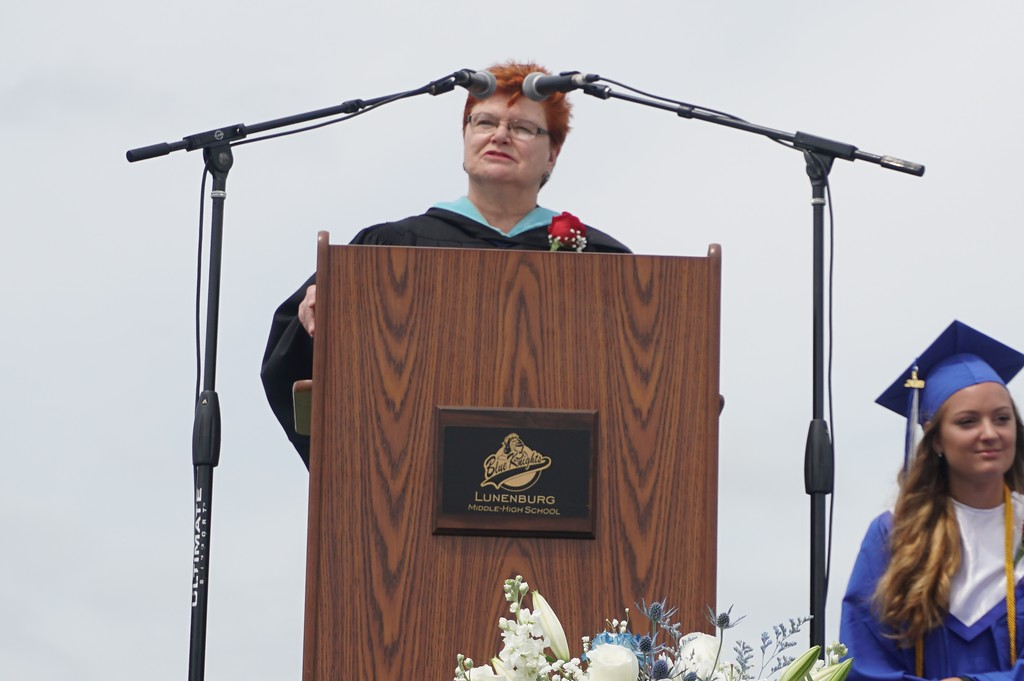 . Outgoing Superintendent Loxi Jo Calmes gave her final commencement address to the class of 2018 before her retirement this spring. (SENTINEL & ENTERPRISE)