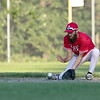 Lunenburg Phillies hosted Auburn in Game 3 of a best-of-three semifinal series at Marshall Park in Lunenburg on Thursday, August 1, 2019. Phillies's Alex Heroux picks up a ground ball. SENTINEL & ENTERPRISE/JOHN LOVE