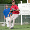 Lunenburg Phillies hosted Auburn in Game 3 of a best-of-three semifinal series at Marshall Park in Lunenburg on Thursday, August 1, 2019. Phillies's third baseman Rey Serrano gets ready to throw to first after picking up a ground ball. SENTINEL & ENTERPRISE/JOHN LOVE