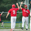 Lunenburg Phillies hosted Auburn in Game 3 of a best-of-three semifinal series at Marshall Park in Lunenburg on Thursday, August 1, 2019. Phillies's Steve LaJoie is congratulated for scoring the winning run after a sacrifice fly in the bottom of the ninth inning. SENTINEL & ENTERPRISE/JOHN LOVE