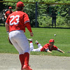 Cooper Bigelow laid out to attempt to stop this single to right field<br /> SENTINEL&ENTERPRISE/Scott LaPrade