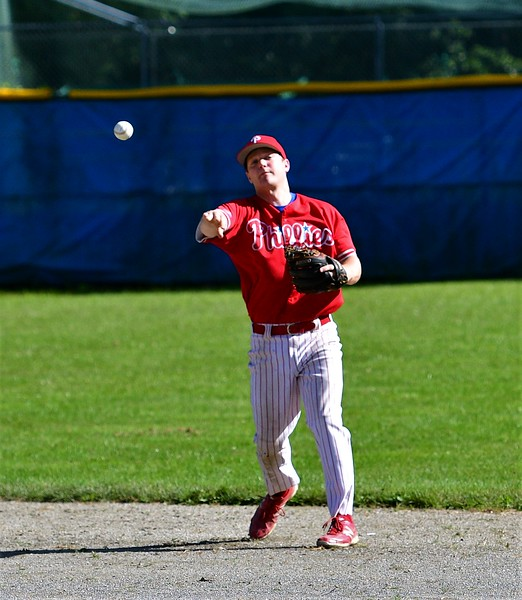 Phillies Shortstop, Alex Heroux, throwing to 1st for a put out