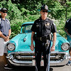 Officer Ben Campbell, Chief James Marino and Officer Rob DaCosta pose with a classic car during the Lunenburg Police Relief Association's first ever Cruise Night held on Wednesday, June 14, 2017. SENTINEL & ENTERPRISE / Ashley Green