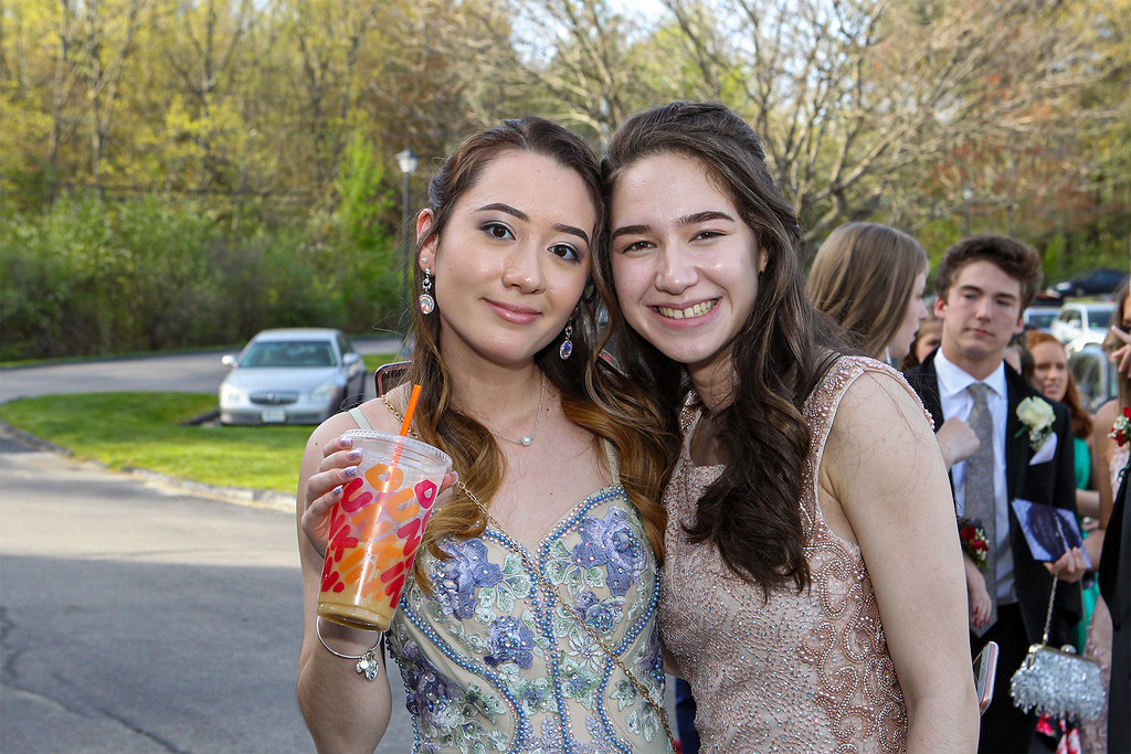 . Katie Hogan and Melaine Bourges were ready to have fun at the Lunenburg High School prom held Saturday night at Gardner\'s Colonial Hotel. Courtesy photo