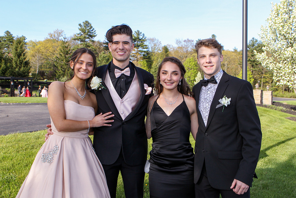 . Anna DiMarzio, Nathan Bourdelais, Camille Elbthal and Matthew Albert take a moment to pose for a group photo before the Lunenburg High School prom held Saturday at Gardner\'s Colonial Hotel. Courtesy photo